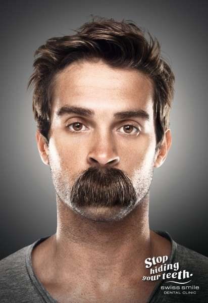 Mouth-Covering Mustache Ads