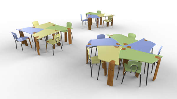 Collaborative Student Desks ~ Modular school furniture synthesis collaborative desk