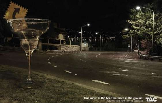 Engulfing Beverage Reminders Tac Drunk Driving Ads