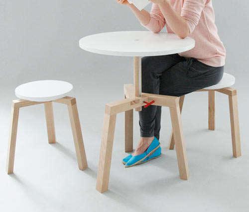 Adjustable Multifunctional Furniture Takka Table And Stools