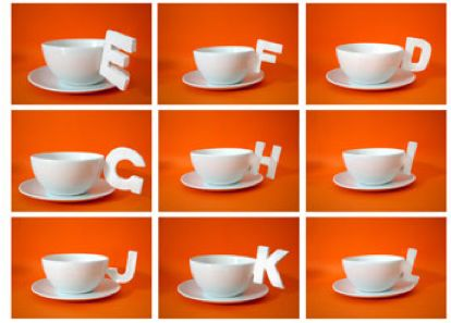 Dainty Typographic Teacups