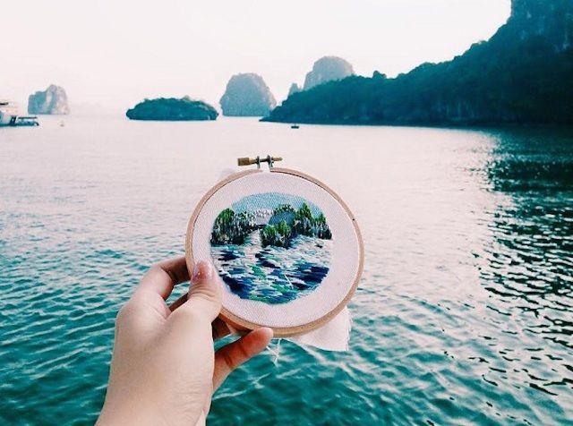 Embroidered Tourist Scenes