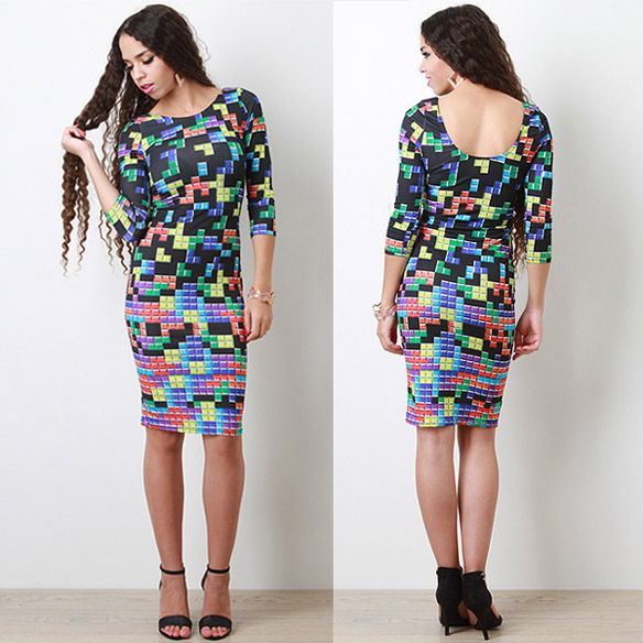 Tight Tetris-Patterned Frocks