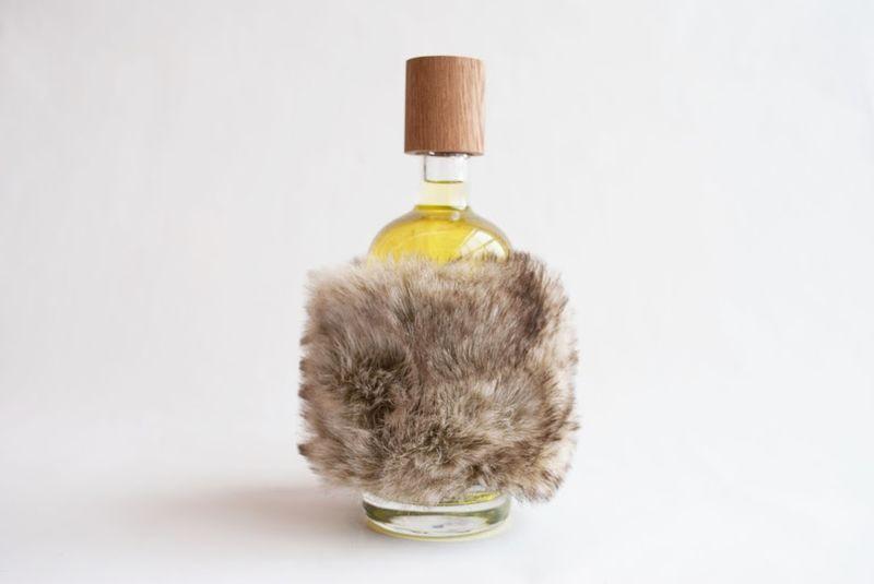 Fur-Wrapped Gin Bottles