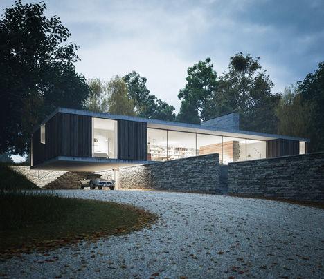 Protruding Concrete Residences