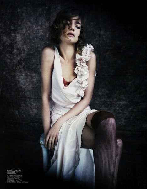 Pale Ruffled Dresses
