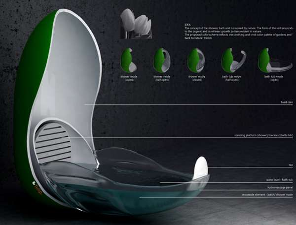 futuristic shower pods the tulip bathtub shower. Black Bedroom Furniture Sets. Home Design Ideas