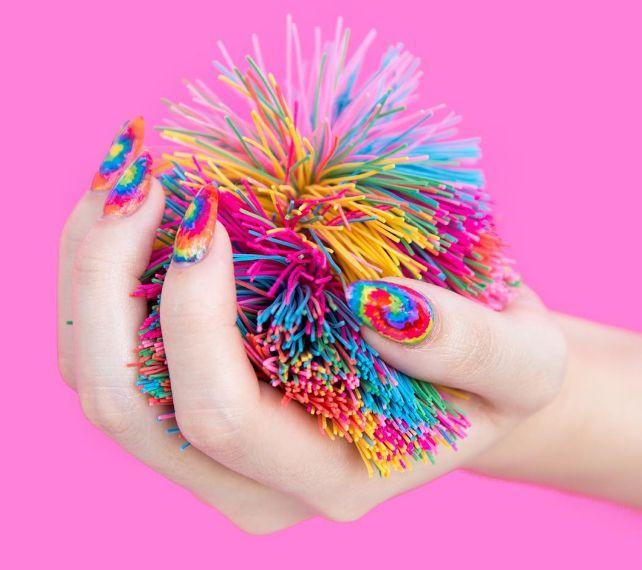 Retro Tie-Dye Nail Art