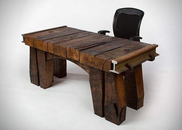 Rustic Railroad Workstations Timbertop Desk