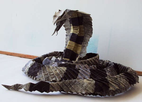 Folded Paper Snake Sculptures