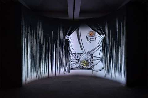 Peeking Curtain Art
