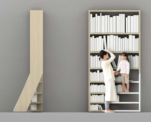 Asymmetrically Staircased Bookcases