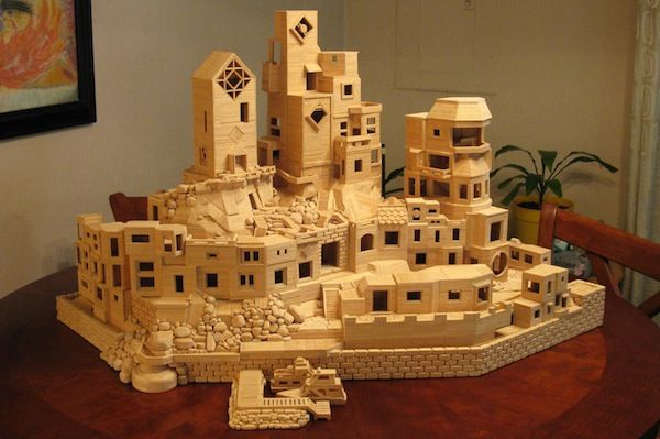 Intricate Toothpick Cityscapes