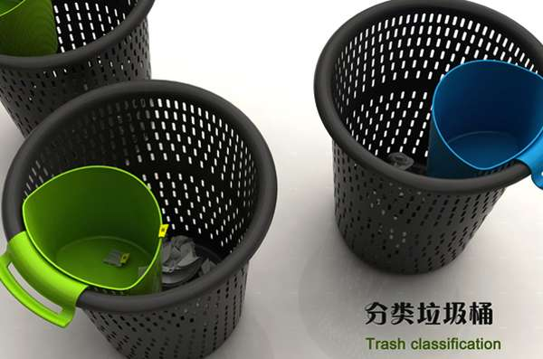 Trash-Sorting Litter Cans
