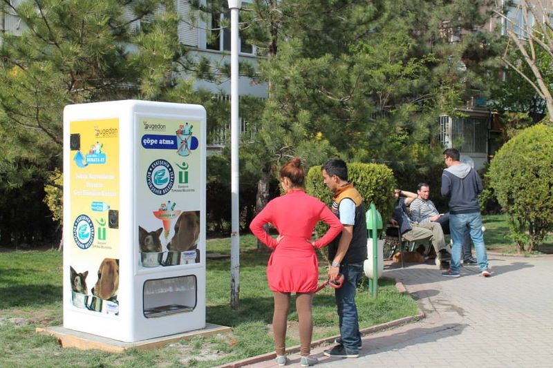 Pet-Feeding Recycling Bins