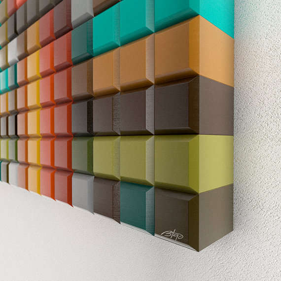 Wooden Pixelated Wall Art