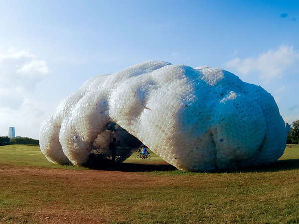 Plastic Cloud-Shaped Pavilions