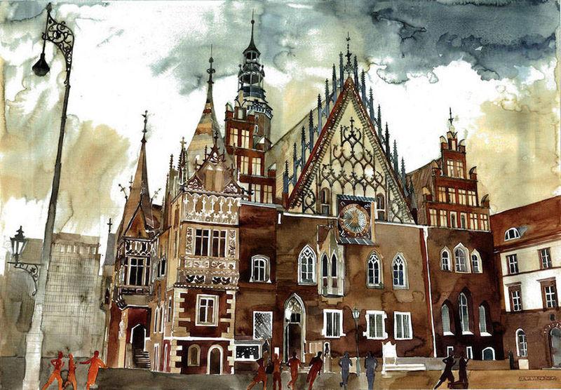Vibrant Metropolitan Watercolors