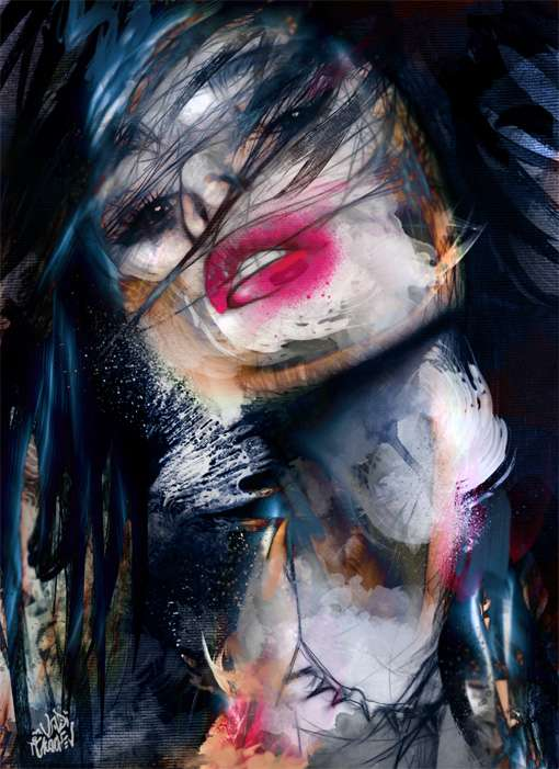Chaotic Smeared Paint Portraits