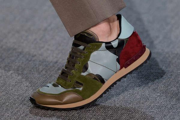 Suede Paneled Sneakers