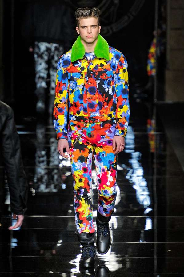 flashy floral menswear looks   versace fall  winter 2012