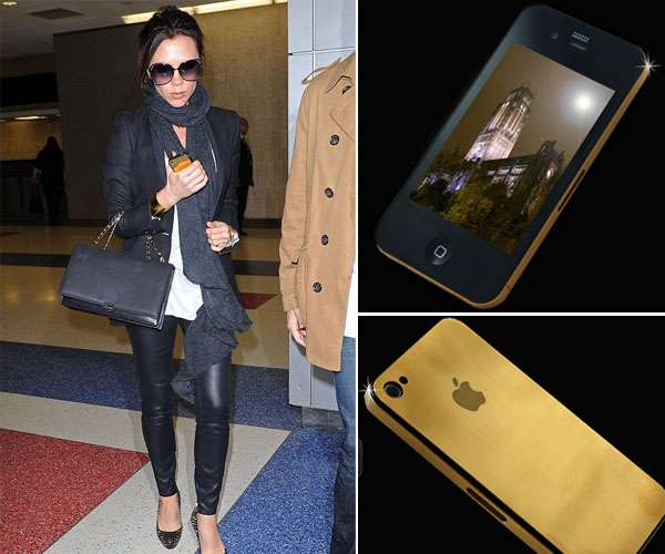 Victoria Beckham's Golden Stuart Hughes iPhone