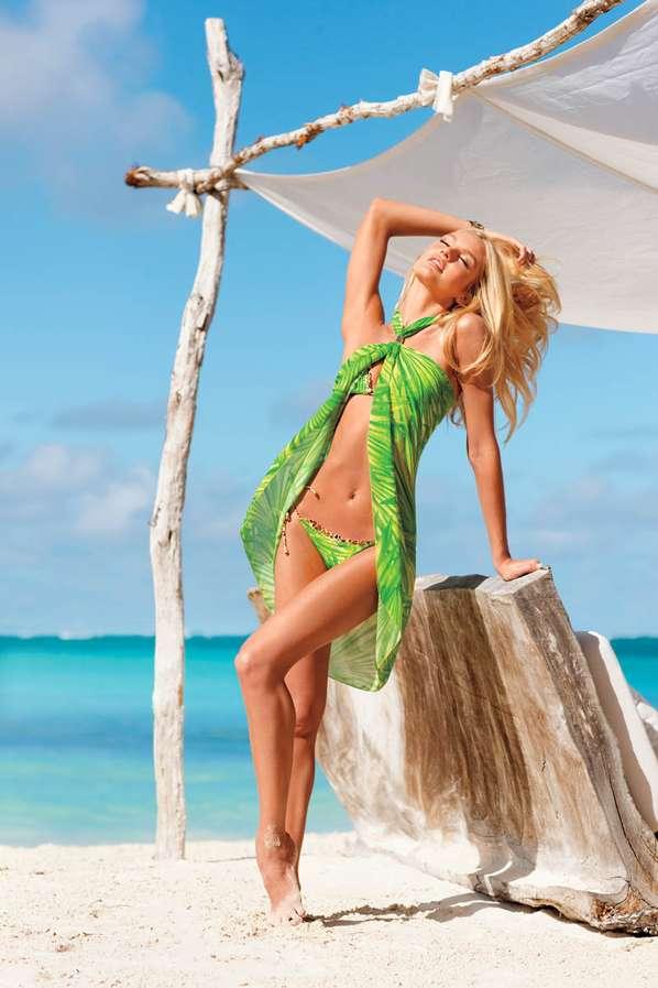 Clashing Print Beachwear