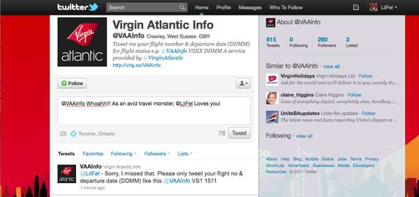 Virgin Atlantic's Twitter Bot
