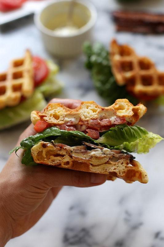 Waffle-Bread BLTs : Waffle sandwich