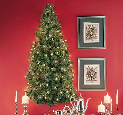 Wall Hanging Christmas Tree With Lights : Pre-Lit Mounted Foliage : Wall-Hanging Christmas Trees