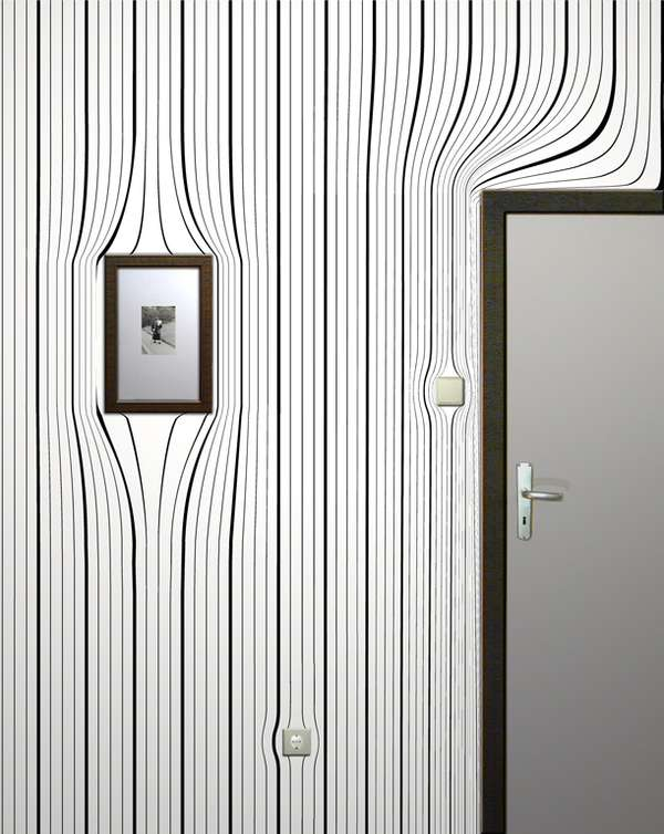 Optical Illusion Wallpaper Warped Wall Coverings