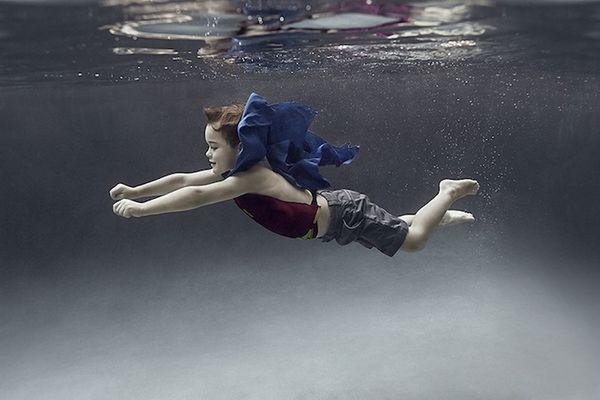 Playfully Submerged Child Photography