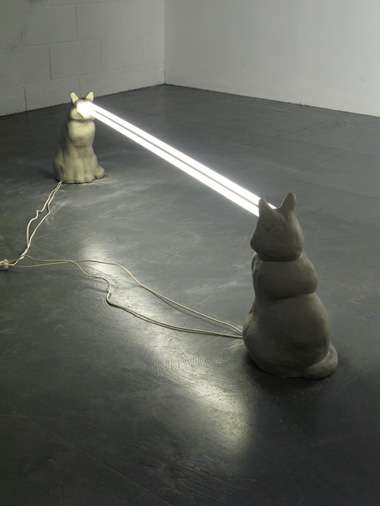 Quirky Fluorescent Cat Sculptures