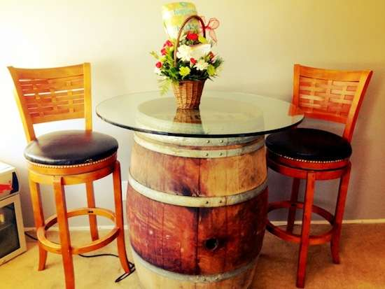 DIY Wine Barrel Tables