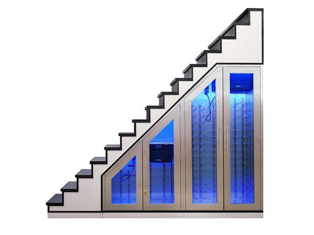 Staircase wine storage wine cabinet - Cabinet design under stairs ...