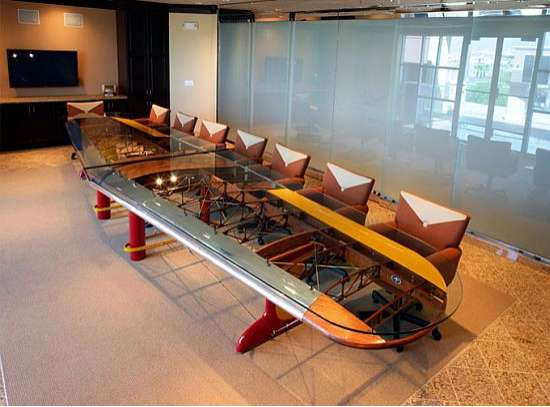 Airplane Inspired Furniture Wing Conference Table