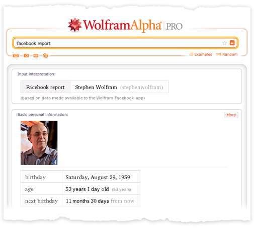 Wolfram|Alpha 'Facebook Report'