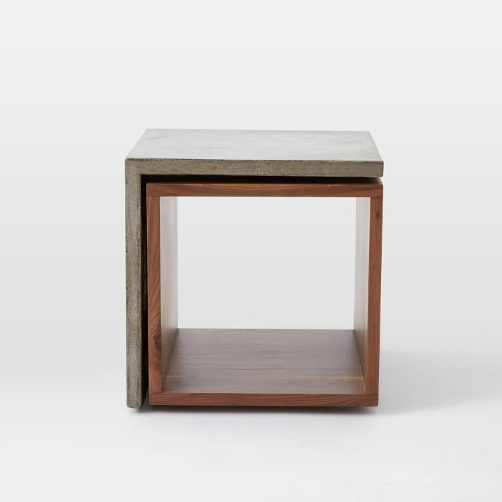 Concrete Contoured Cubbies Wood And Concrete Side Table