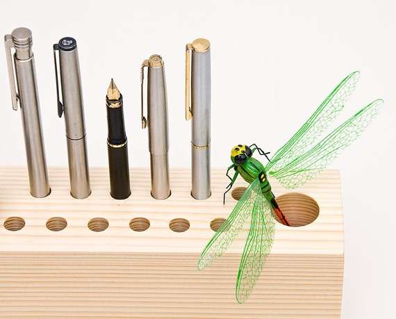 Simple Spruce Pen Holders Wood Desk Organizer