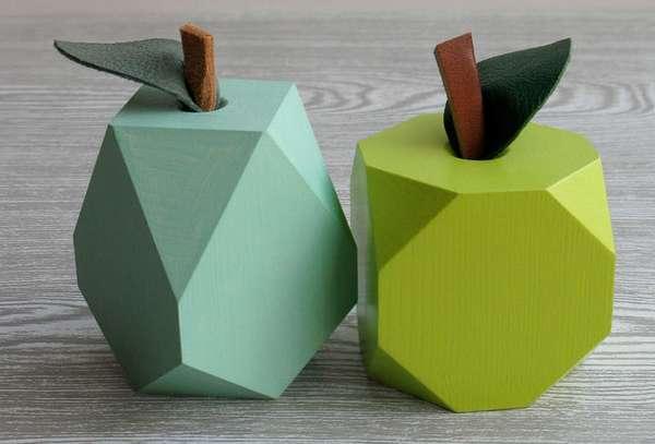 Geometric Pixelated Produce Wood Fruit