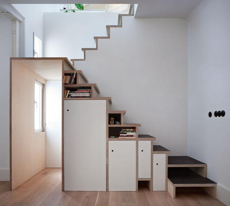 Storage stuffed stairways wooden cabinet staircase - Escaleras para espacios pequenos ...