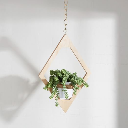Angular Planter Decor Wooden Hanging Planter