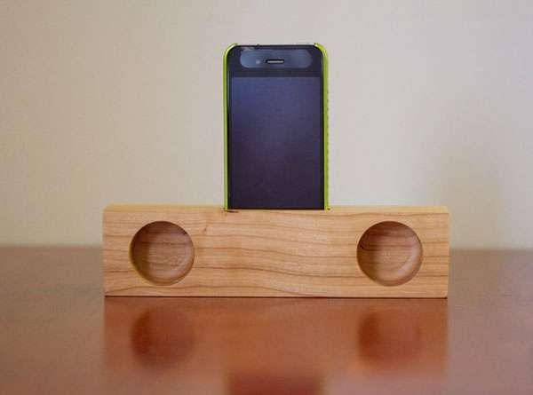 wooden iPhone speaker dock