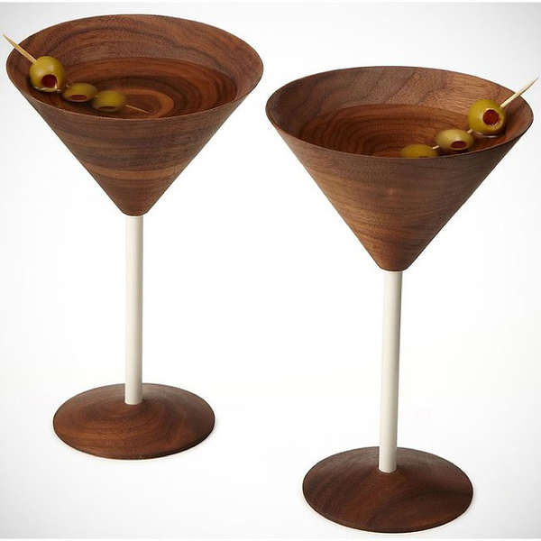 wooden martini glasses