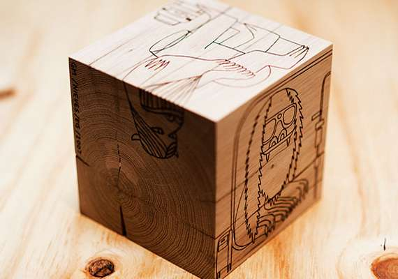 Etched Cartoon Cubes