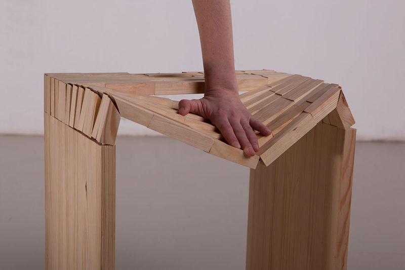 Undulating Wooden Stools