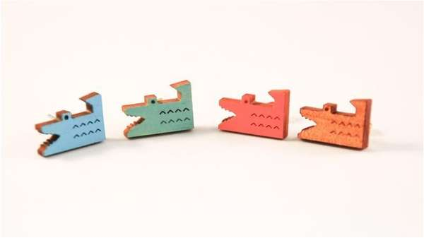 8-Bit Crocodile Earrings