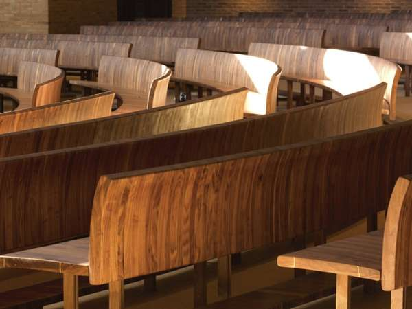 Curved Wood-Clad Seating