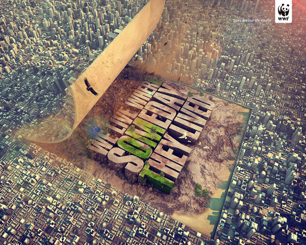Peeled-Back Cityscape Ads