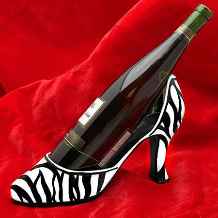 zebra couture wine bottle